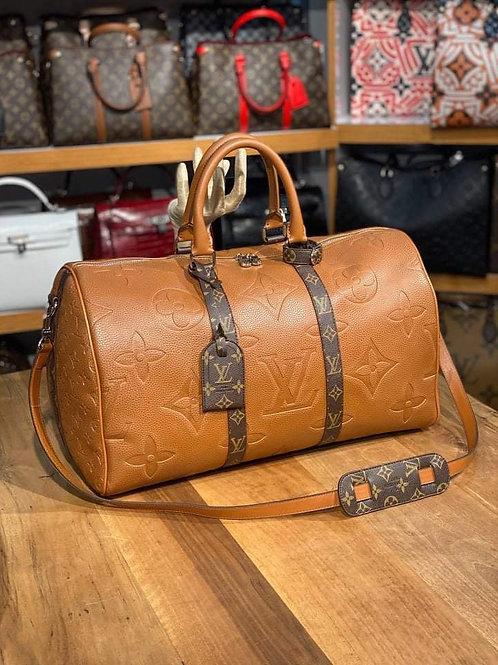 Designer Monogram Travel Shoulder Duffel Bag in Carmel Color