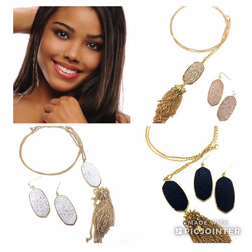 Big Oval Drusy Necklace and Earring Set in Gold and Silver