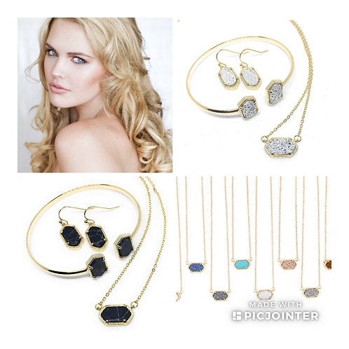 Complete Drusy Set in Gold Tone Available in 9 Colors