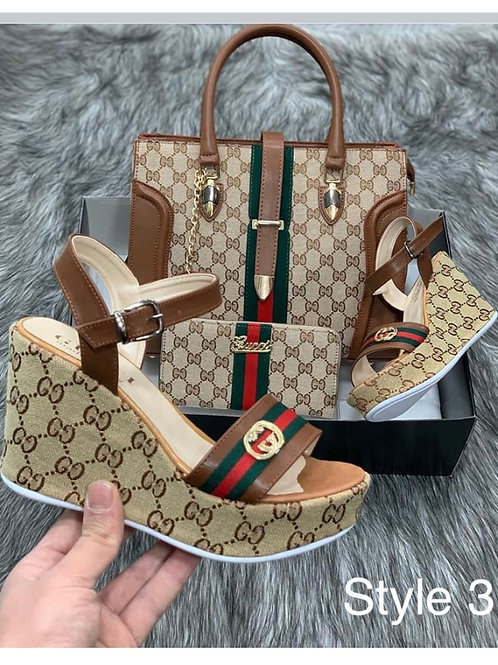 Summer Collection Slingback Wedge Sandals, Purse and Wallet in 8 Style Choices