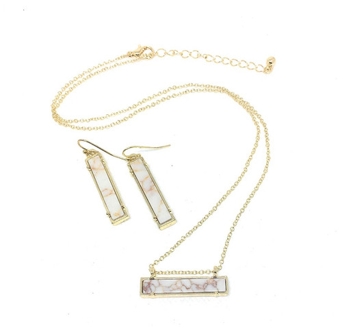 3545035806d81 White Howlite Bar Necklace and Earring Set in Silver or Gold Tone