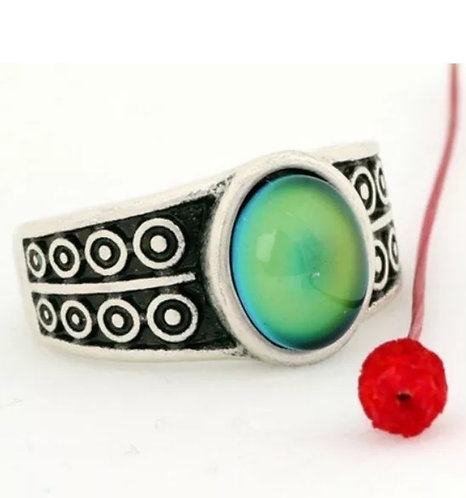 Magic Mood Ring in Antique Sterling Silver Grecian Design