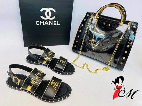 Summer Sandals and Matching Purse in Black or White