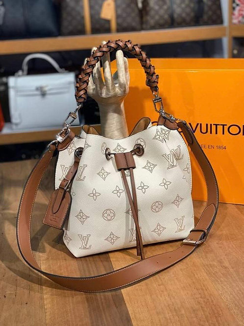Cream Color Leather Hobo Braided Handle Purse