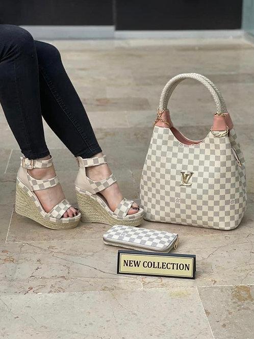 High Heel Chunky Sandal, Purse and Wallet Set