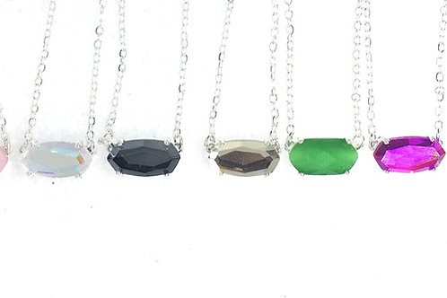 NEW Micro Cat Stone Glass Petite Necklace in Silver