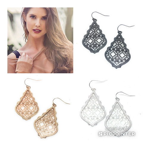 Filigree Drop Earrings In 10 Colors- Flat Style