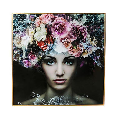 Floral Lady Gold framed Glass Painting