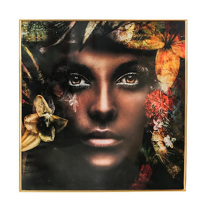 Dark Lady Gold Framed Glass Painting