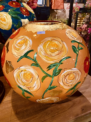 Glass handpainted large vase with small mouth