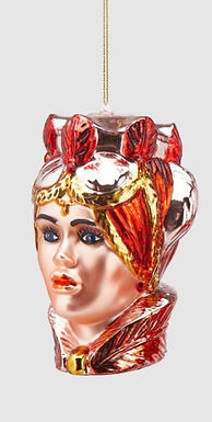 Kerstbal Moro vrouw rood goud 1