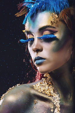 Glasschilderij Feather woman