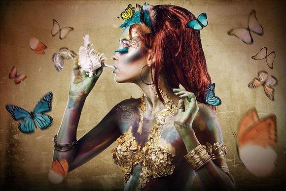 Glasschilderij Butterflie woman