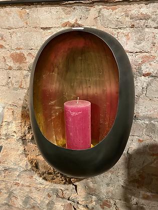 Hanging wall egg candle holder zinc