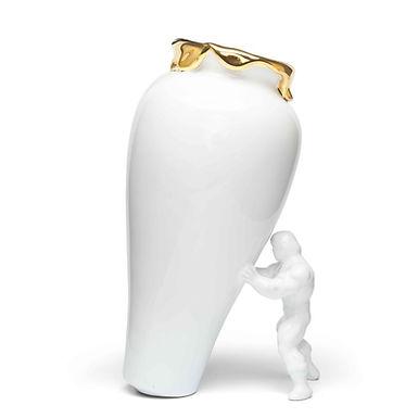 Superhero vaas wit goud large