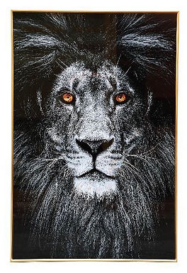 Lion with fire eyes glasspainting