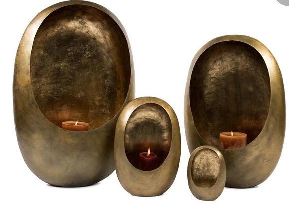 Standing egg candle holder gold