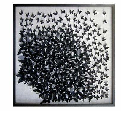 Vlinder schilderij zwart L