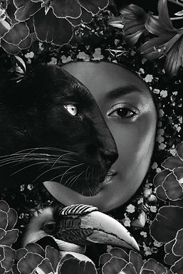 Glasschilderij black Panther Woman