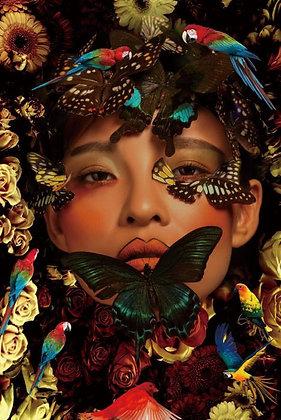 Glasschilderij Jungle Woman