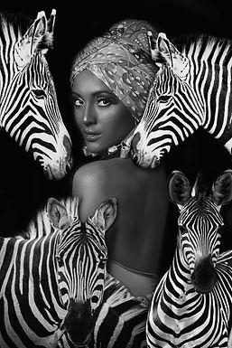 Glasschilderij Zebra Woman