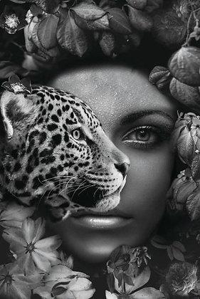 Glasschilderij Cheetah Woman