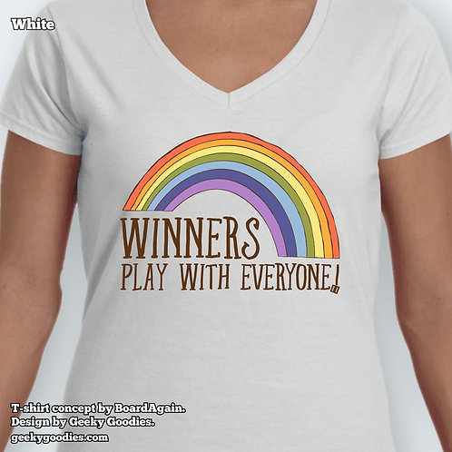 Winners Play With Everyone Ladies White Fitted V-Neck Tee
