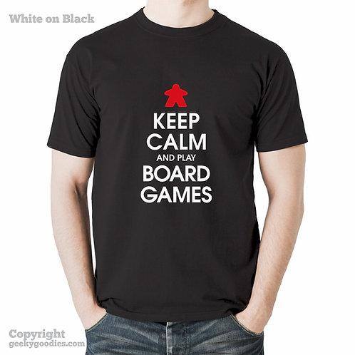 Keep Calm and Play More Board Games Mens T-Shirt (DARK)