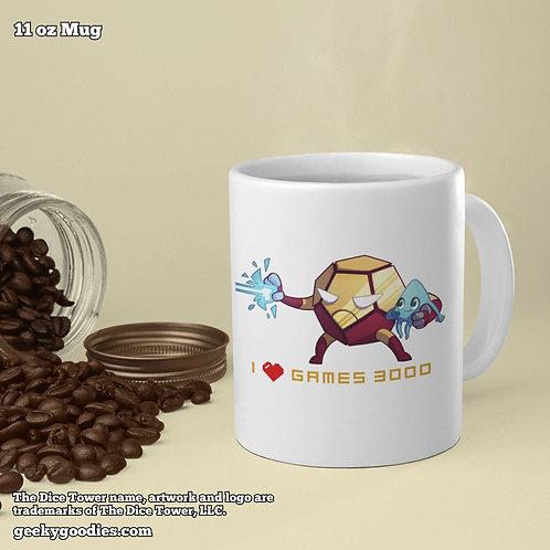 I (Heart) Games 3000 Dice Tower Superhero Coffee Mugs