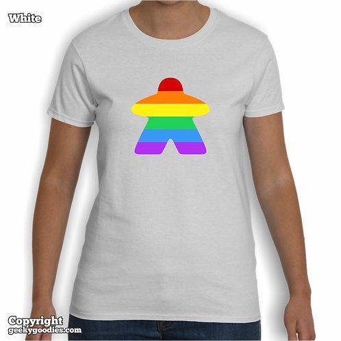 Rainbow (Pride Colors) Meeple Ladies White T-Shirt