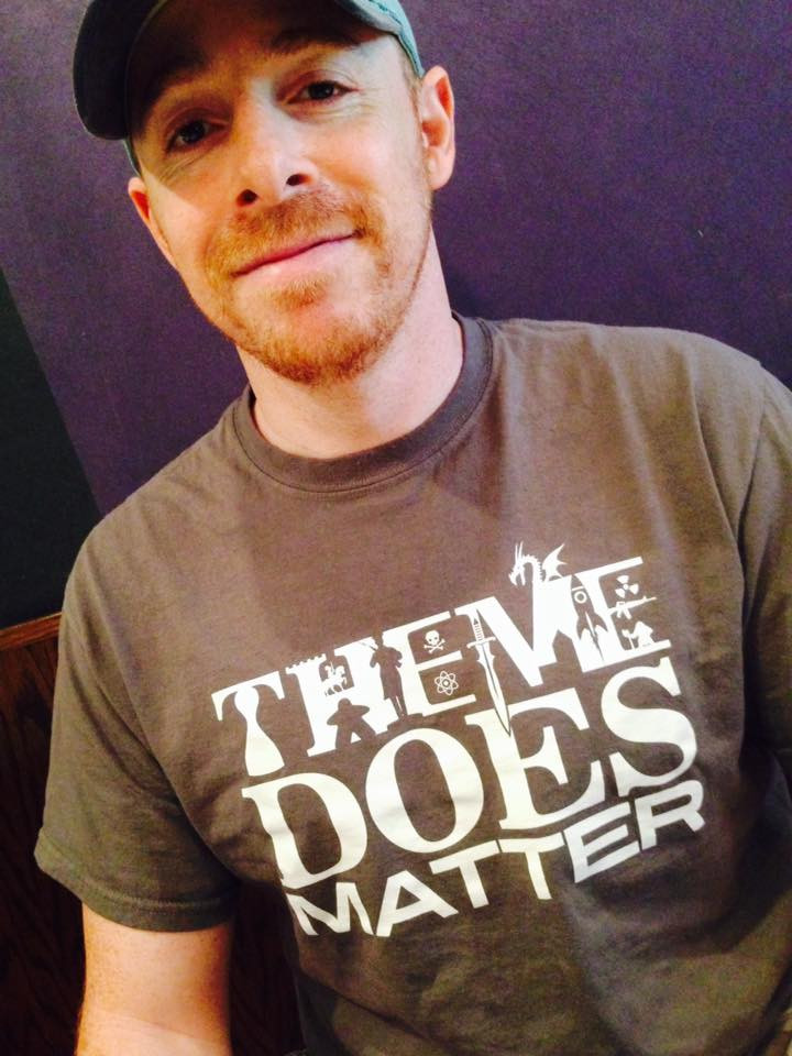 Josh Cappel wearing a Geeky Goodies Tshirt | Theme Does Matter T-shirt from Geeky Goodies