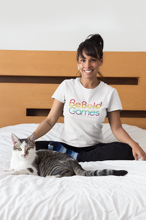 Be Bold Games Rainbow Logo Women's White Tee Shirts