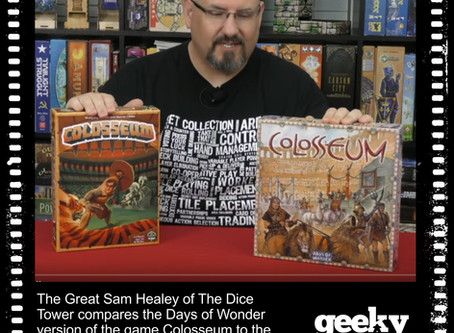 Sam Healey Compares the 2 Versions of Colosseum Wearing our Board Game Mechanics T-shirt!