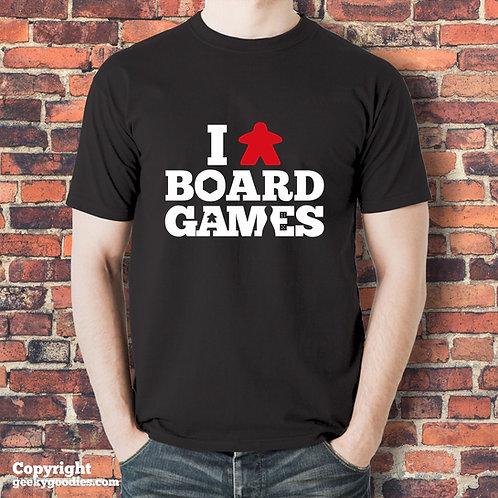 I (Meeple) Board Games Mens/Unisex Black T-shirt
