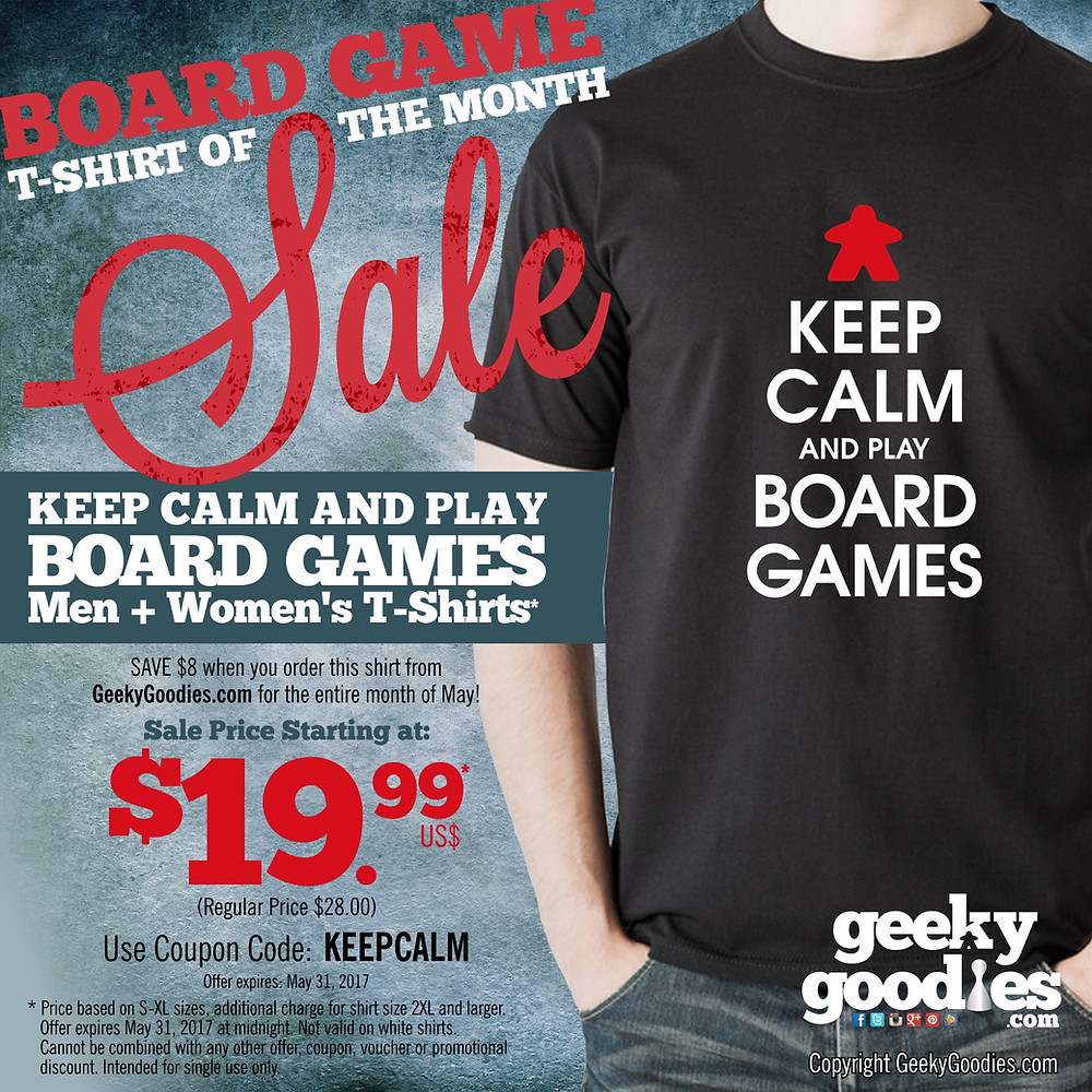 Board Game Shirt of the Month Sale | Geeky Goodies | Tshirts for tabletop and board gamers and analog gamers of all types | SALE!