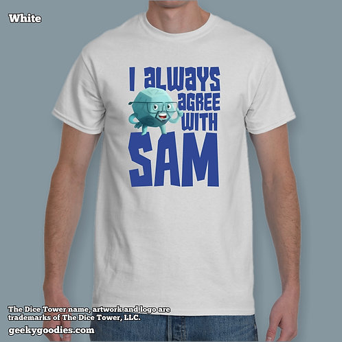 TALL Sizes I Always Agree With SAM Dice Tower Men's/Unisex White T-shirt