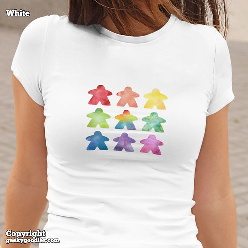 The Watercolor Meeple Ladies FITTED White T-shirts