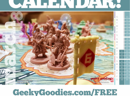 FREE Board Game Calendar for March 2018