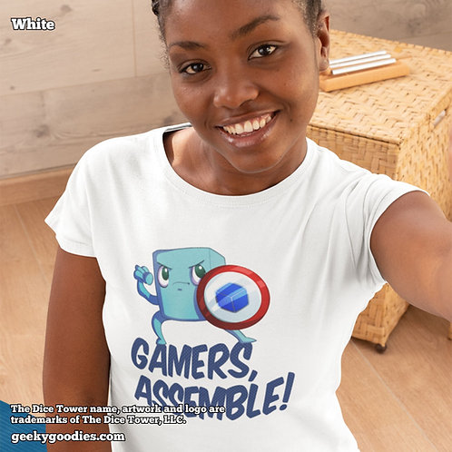 Gamers Assemble Dice Tower Superhero Ladies T-shirts