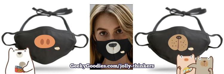 Jolly Thinkers Pick-a-Dog, Pick-a-Pig and Pick-a-Polar Bear Adjustable Cloth Face Masks