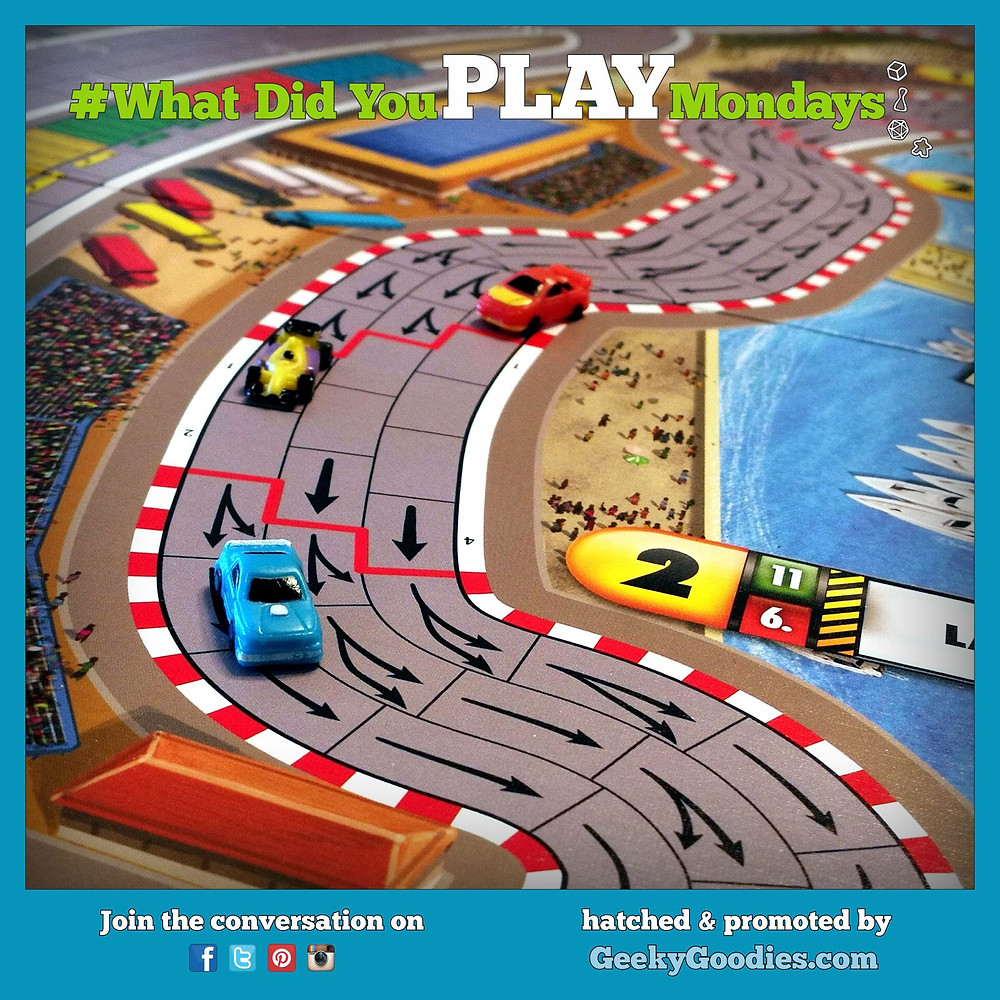 Game in photo is Formula D | #WhatDidYouPlayMondays | Geeky Goodies