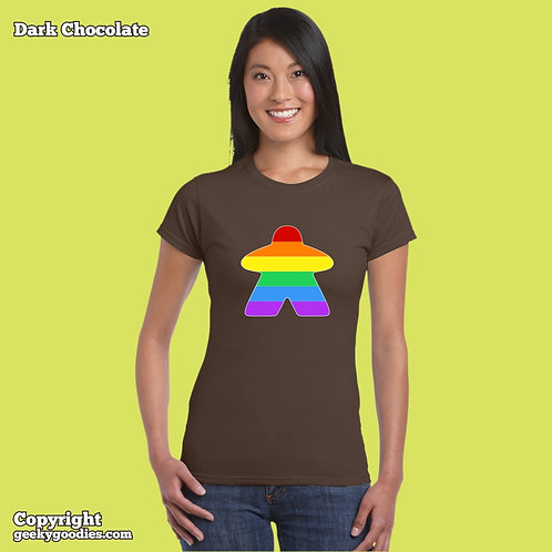 Rainbow (Pride Colors) Meeple Ladies FITTED T-shirt