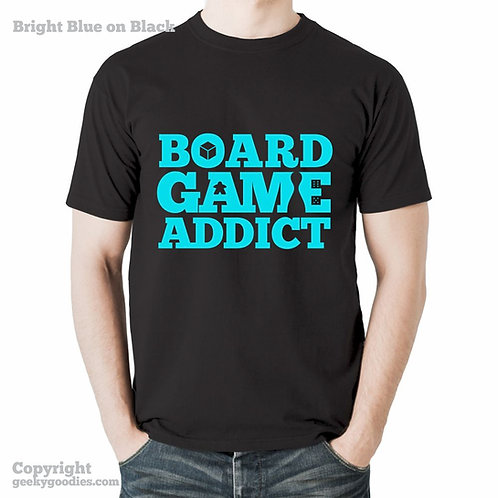 Board Game Addict Black T-shirt (Bright Colours)