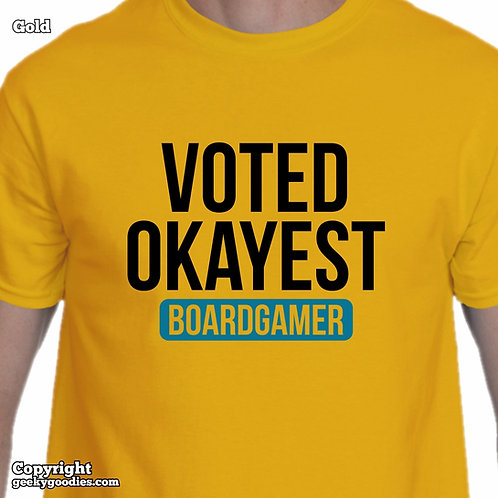 Voted Okayest Boardgamer Men's/Unisex T-shirt (Light Colors)