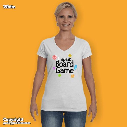 I Speak Board Game Ladies FITTED V-neck White T-shirts