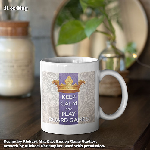 Keep Calm and Play Board Games Coffee Mugs (King of Indecision Artwork)