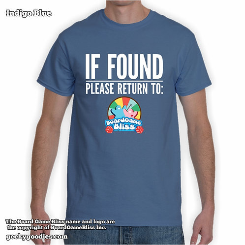 IF FOUND Please Return to Board Game Bliss Mens/Unisex Tshirt(Dark Colours)