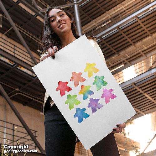 The Watercolor Meeple Poster