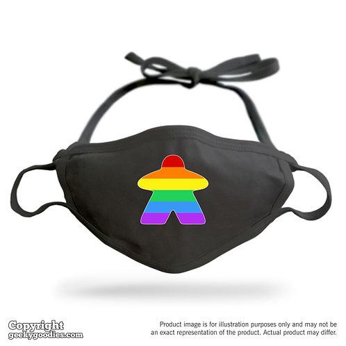 Rainbow Meeple (Pride / LGBTQ Version) Adjustable Cloth Face Mask