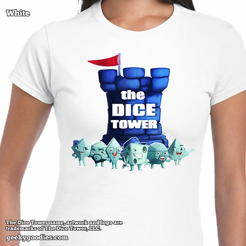 Dice Tower Gang Ladies FITTED White T-shirt
